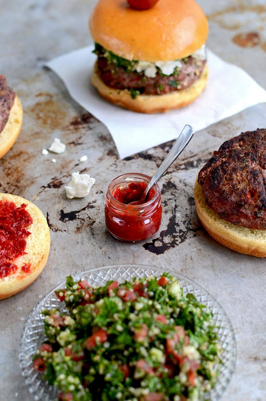 Harissa Web - Tabouleh Turkey Burgers with Feta and Harissa