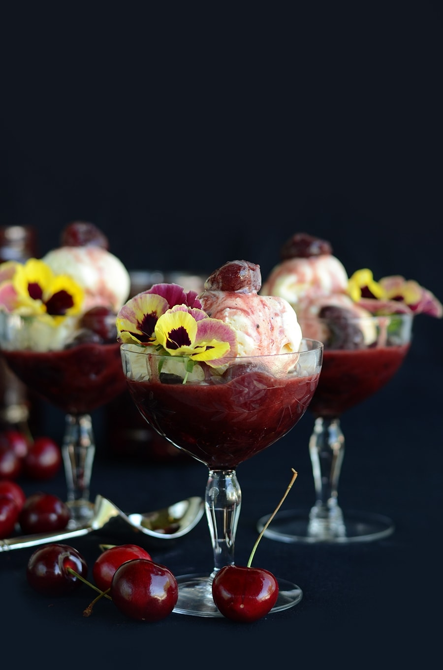 Melting Sundaes Web - Grilled Cherries in Spiced Butter Rum Sauce