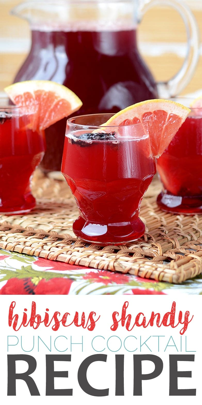 Your next barbecue will be so much cooler when you serve this Hibiscus Shandy. It's refreshing, sweet, tangy and great for a crowd. #beer #shandy #cocktail #grapefruit #hibiscus #punch #summertime
