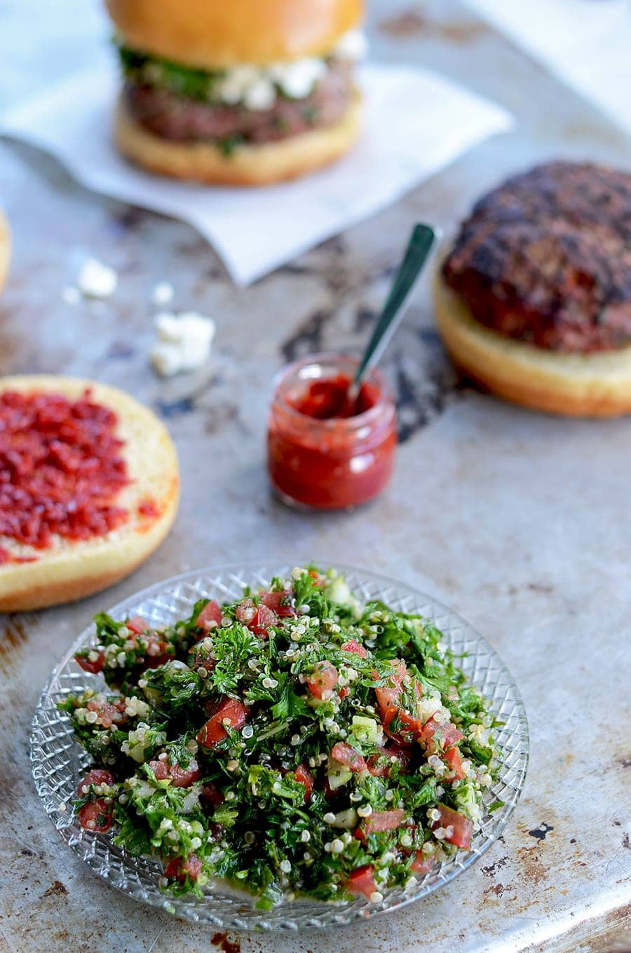 Tabouleh 2 Web - Tabouleh Turkey Burgers with Feta and Harissa