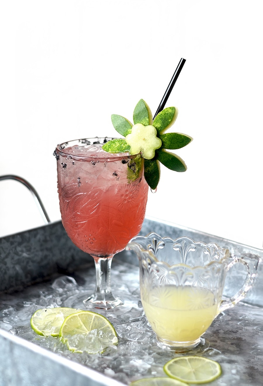 Single Watermelon Margarita Web 3 - Watermelon Margaritas with Watermelon Rind Garnish