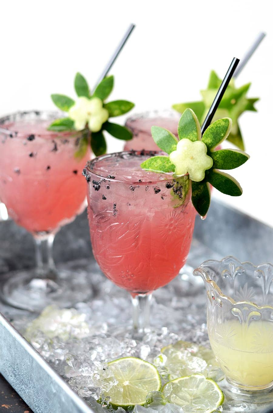 Watermelon Margaritas 3 Web 3 - Watermelon Margaritas with Watermelon Rind Garnish