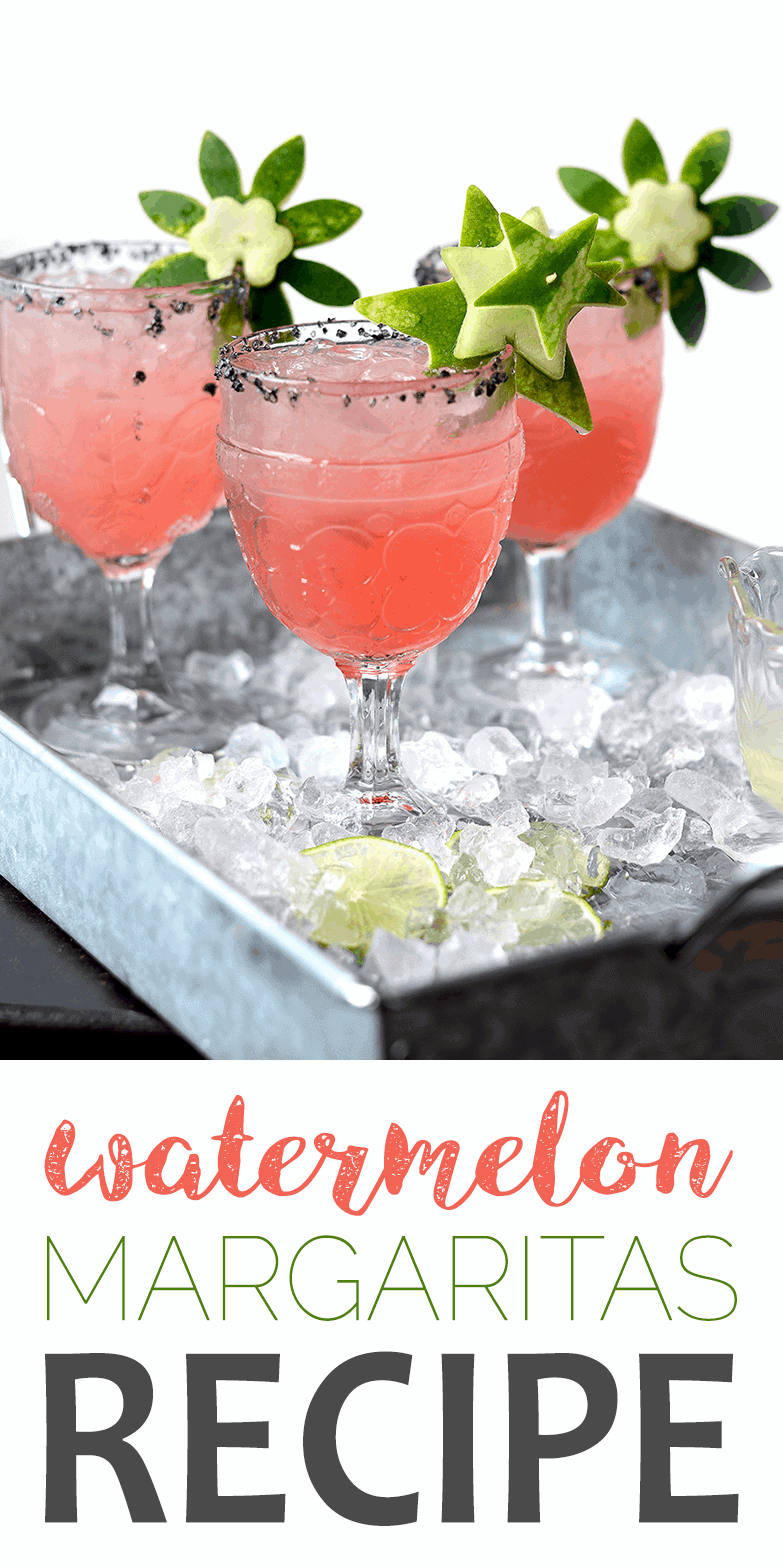 These fresh Watermelon Margaritas are trimmed with garnish made from the rind! Clever, tasty and made from scratch with fresh lime juice and watermelon. #margaritas #watermelon #watermelonrind #cocktails #happyhour #summerdrinks