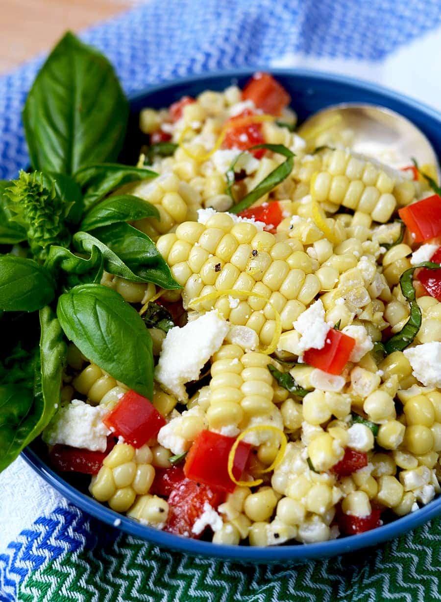 Corn Salad 2 Web - Corn Salad with Basil and Queso Fresco
