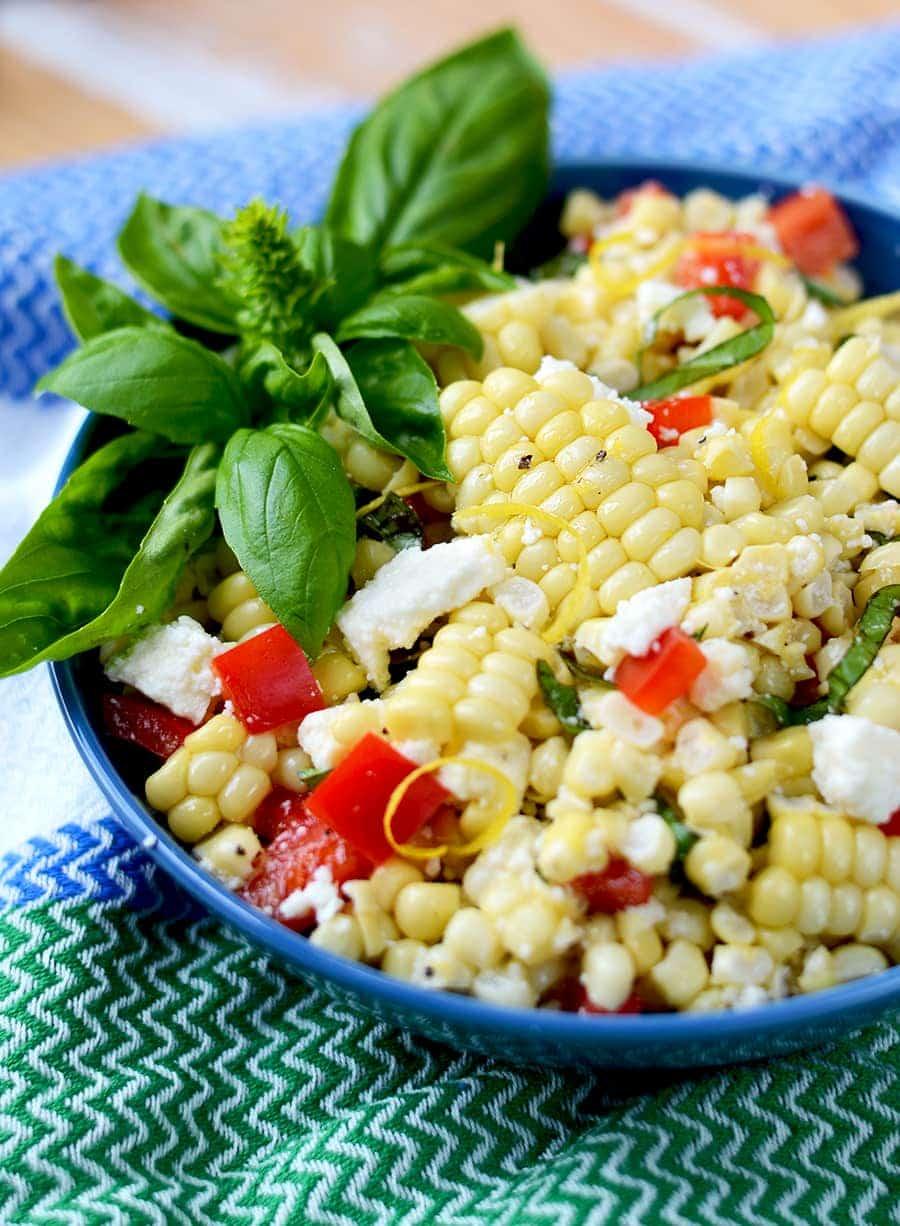 Corn Salad Bowl Web - Corn Salad with Basil and Queso Fresco