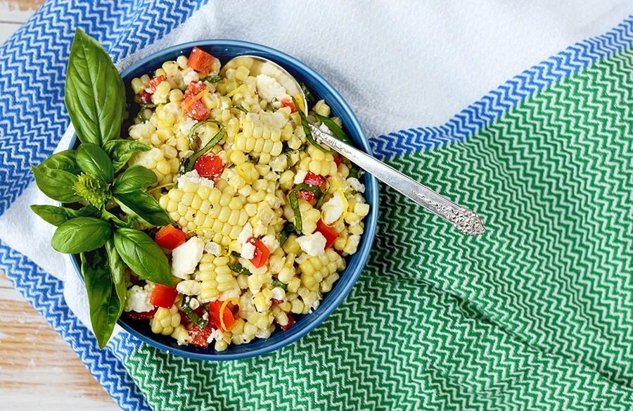 Corn Salad Slider Web - Corn Salad with Basil and Queso Fresco