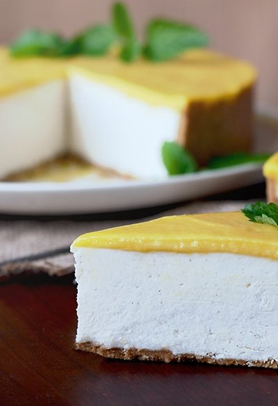 Marngo Lassi Cheesecake Horizontal Web 400x584 - Mango Lassi No Bake Cheesecake