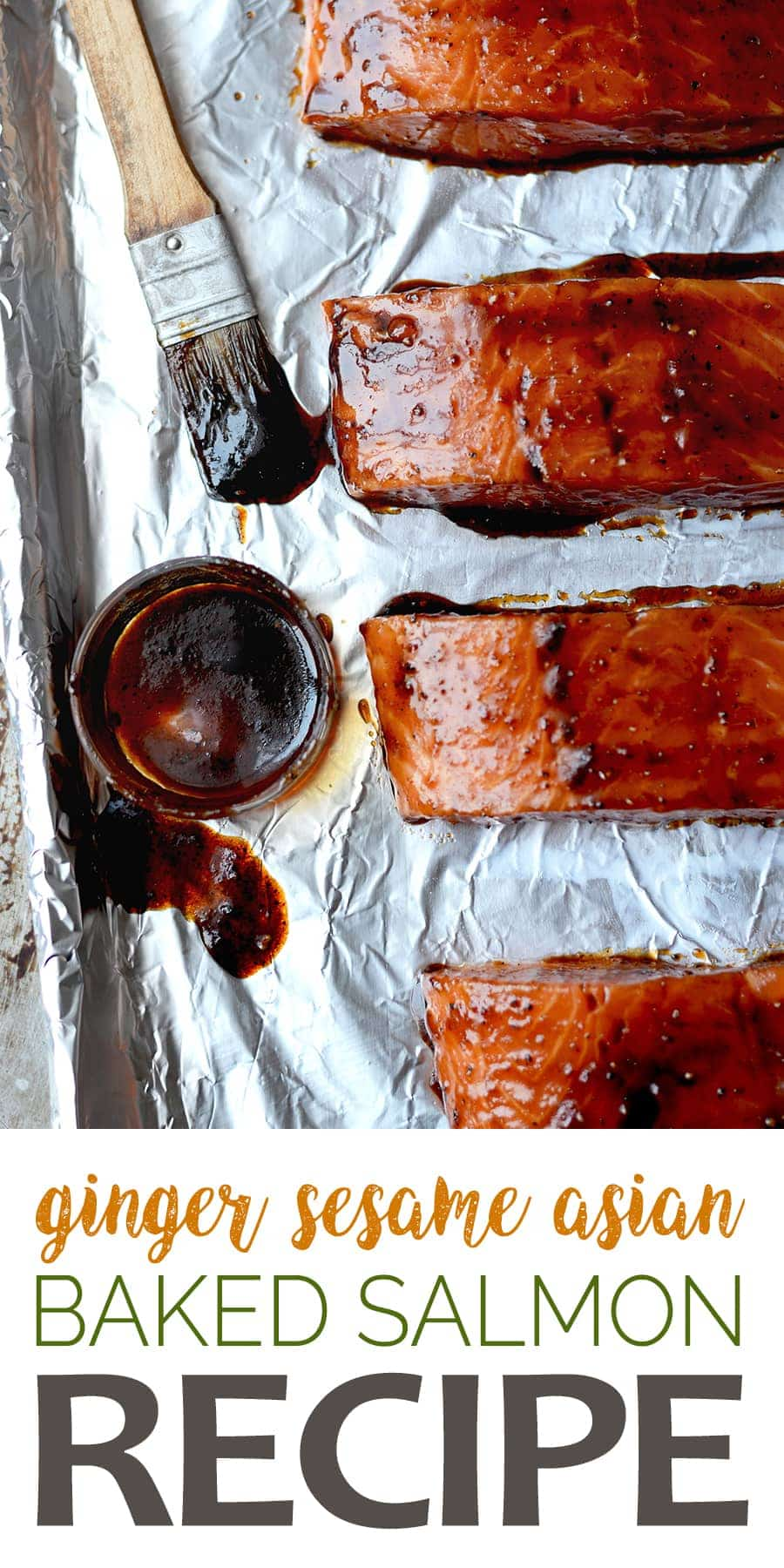 Incredibly Easy Asian Baked Salmon makes weeknights taste great! With this sesame ginger glaze, you don't have to compromise flavor for speed. #salmon #fishrecipe #sesameginger #glazedsalmon #dinnerideas