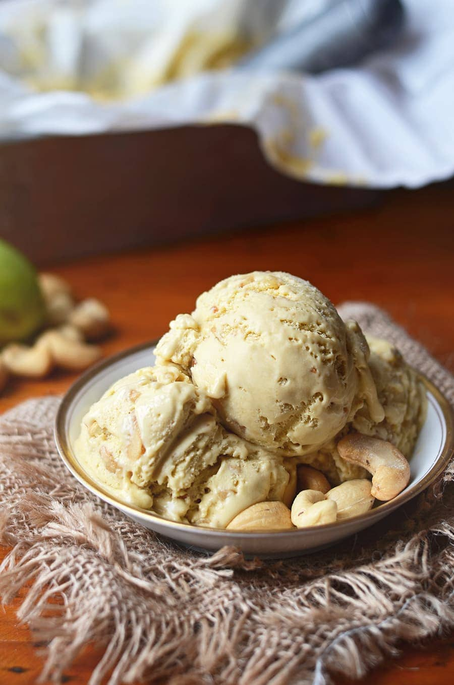 Caramel Cashew Pawpaw Ice Cream 2 Web - Salted Caramel Pawpaw Ice Cream </br> with Cashew Praline Crunch