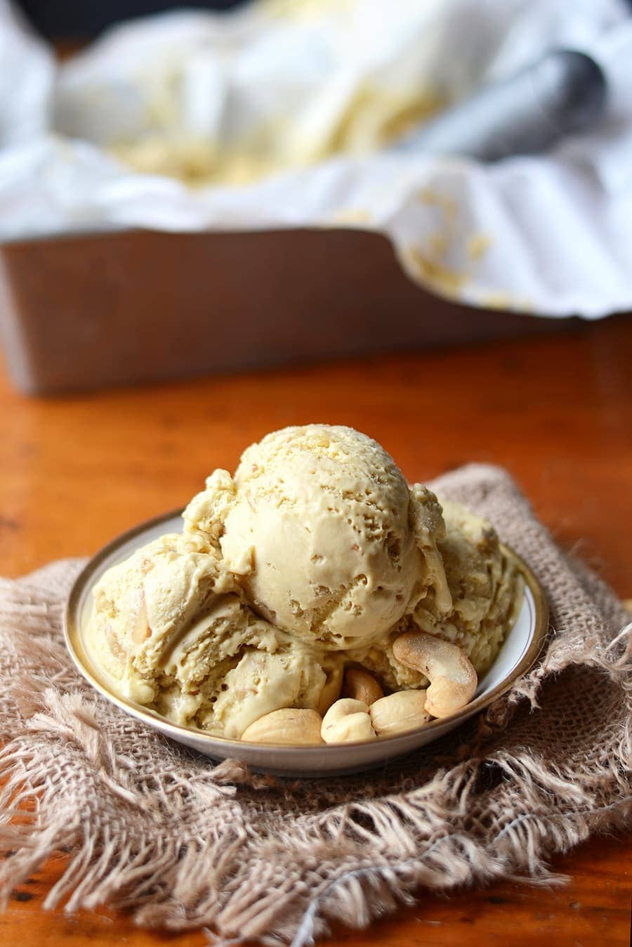 Caramel Pawpaw Ice Cream Web - Salted Caramel Pawpaw Ice Cream </br> with Cashew Praline Crunch