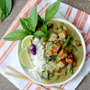 Green Curry Top Down Web 300x300 - Vegan Thai Green Curry from scratch </br> with Sweet Potatoes, Tofu, and Green Beans