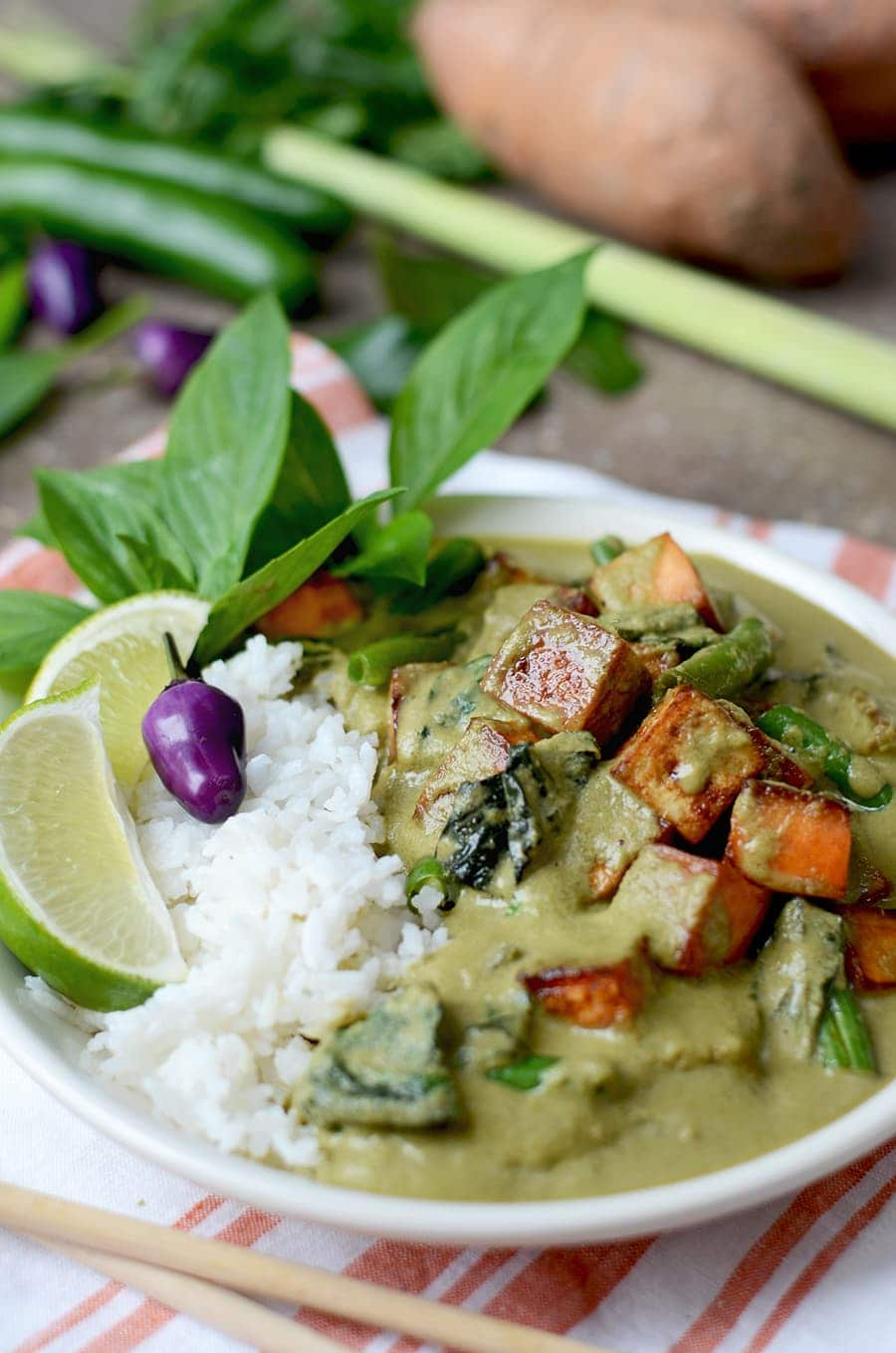 Green Thai Curry Web - Vegan Thai Green Curry from scratch </br> with Sweet Potatoes, Tofu, and Green Beans