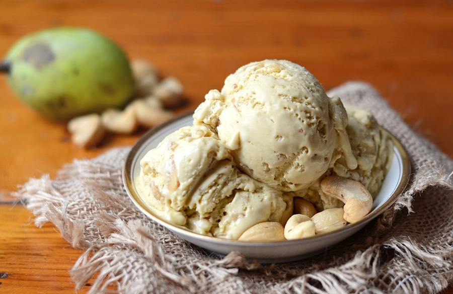 Horizontal Bowl Of Pawpaw Ice Cream Web - Salted Caramel Pawpaw Ice Cream </br> with Cashew Praline Crunch