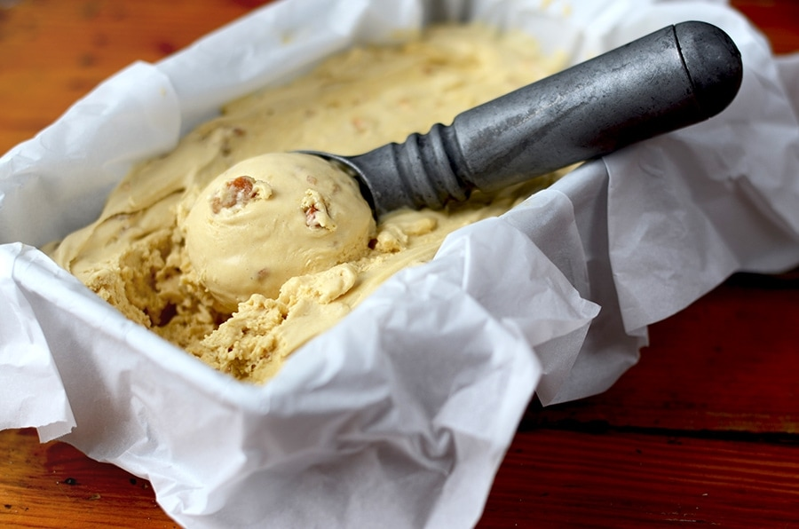 Pawpaw Ice Cream Horizontal Web - Salted Caramel Pawpaw Ice Cream </br> with Cashew Praline Crunch