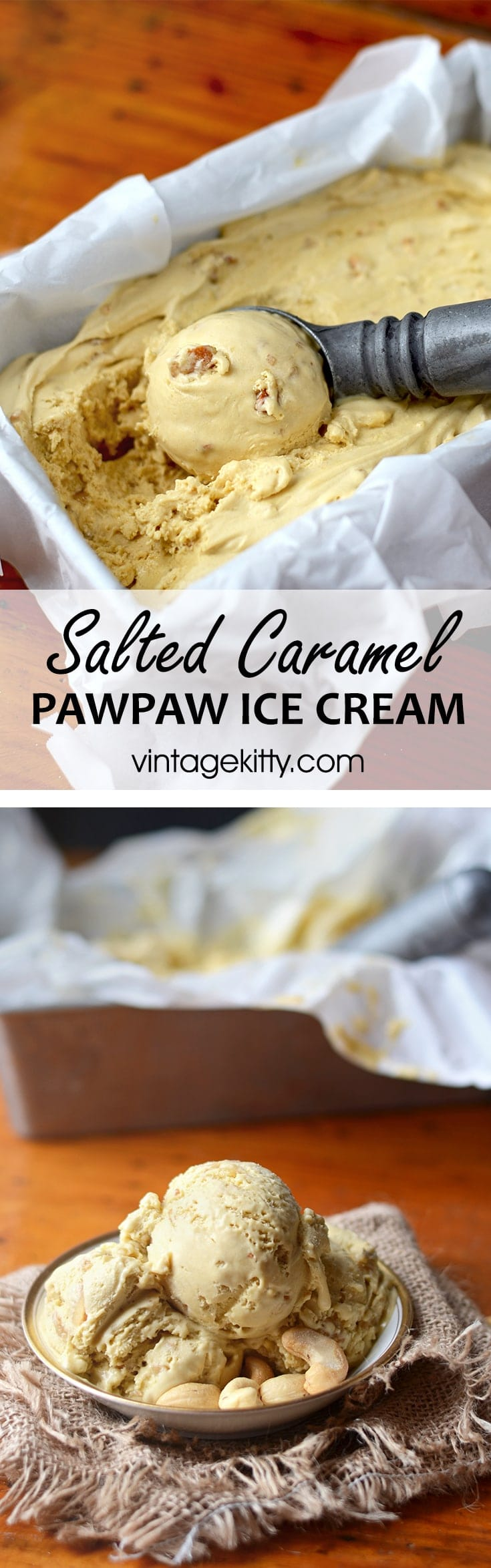 Pawpaw pin - Salted Caramel Pawpaw Ice Cream </br> with Cashew Praline Crunch