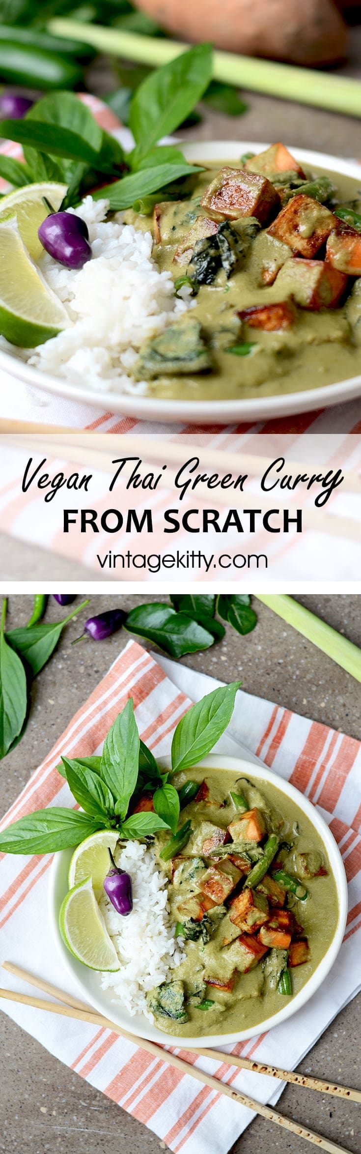 Vegan Thai Green Curry Pin - Vegan Thai Green Curry from scratch </br> with Sweet Potatoes, Tofu, and Green Beans