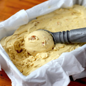 Vertical Pawpaw Ice Cream Web 300x300 - Salted Caramel Pawpaw Ice Cream </br> with Cashew Praline Crunch