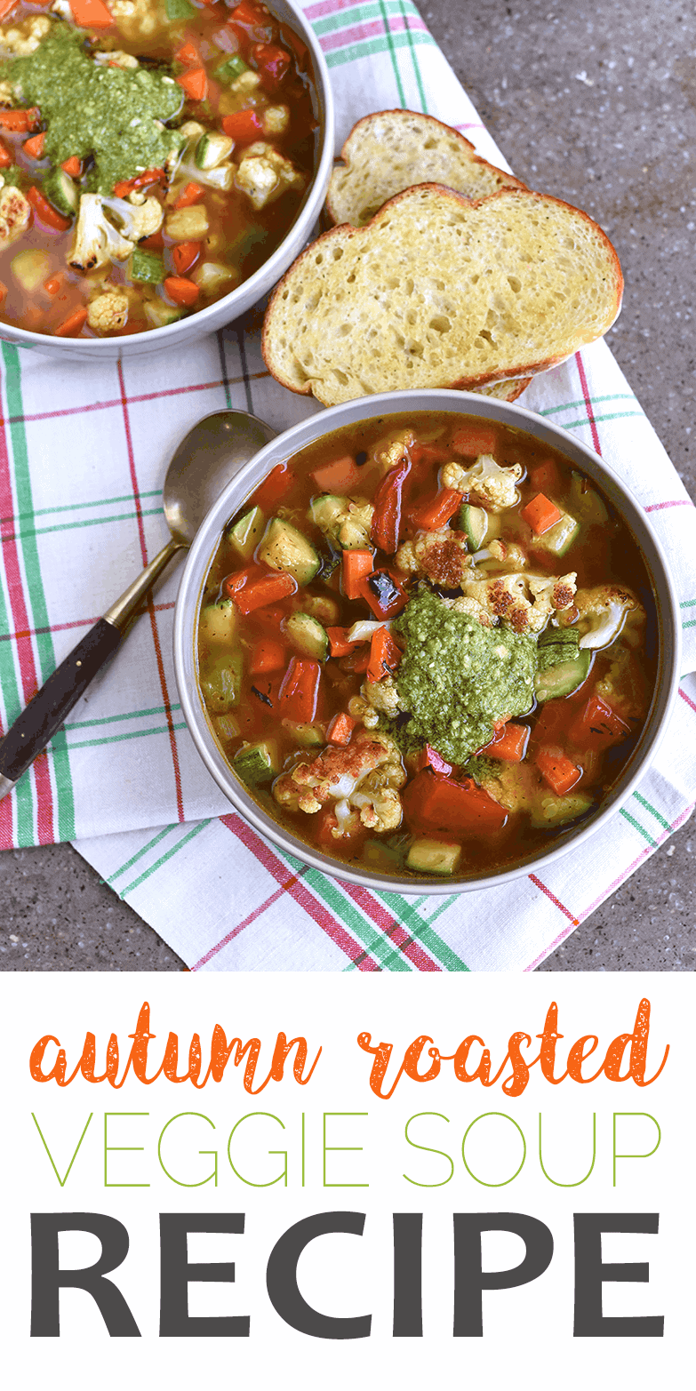 This Autumn Roasted Vegetable Soup is abundant with fresh vegetables that are caramelized in the oven for a robust flavor. Perfect for soup season! #recipe #soup #veggies #pesto #vegetarian #vegan #vegetablesoup #roastedvegetables