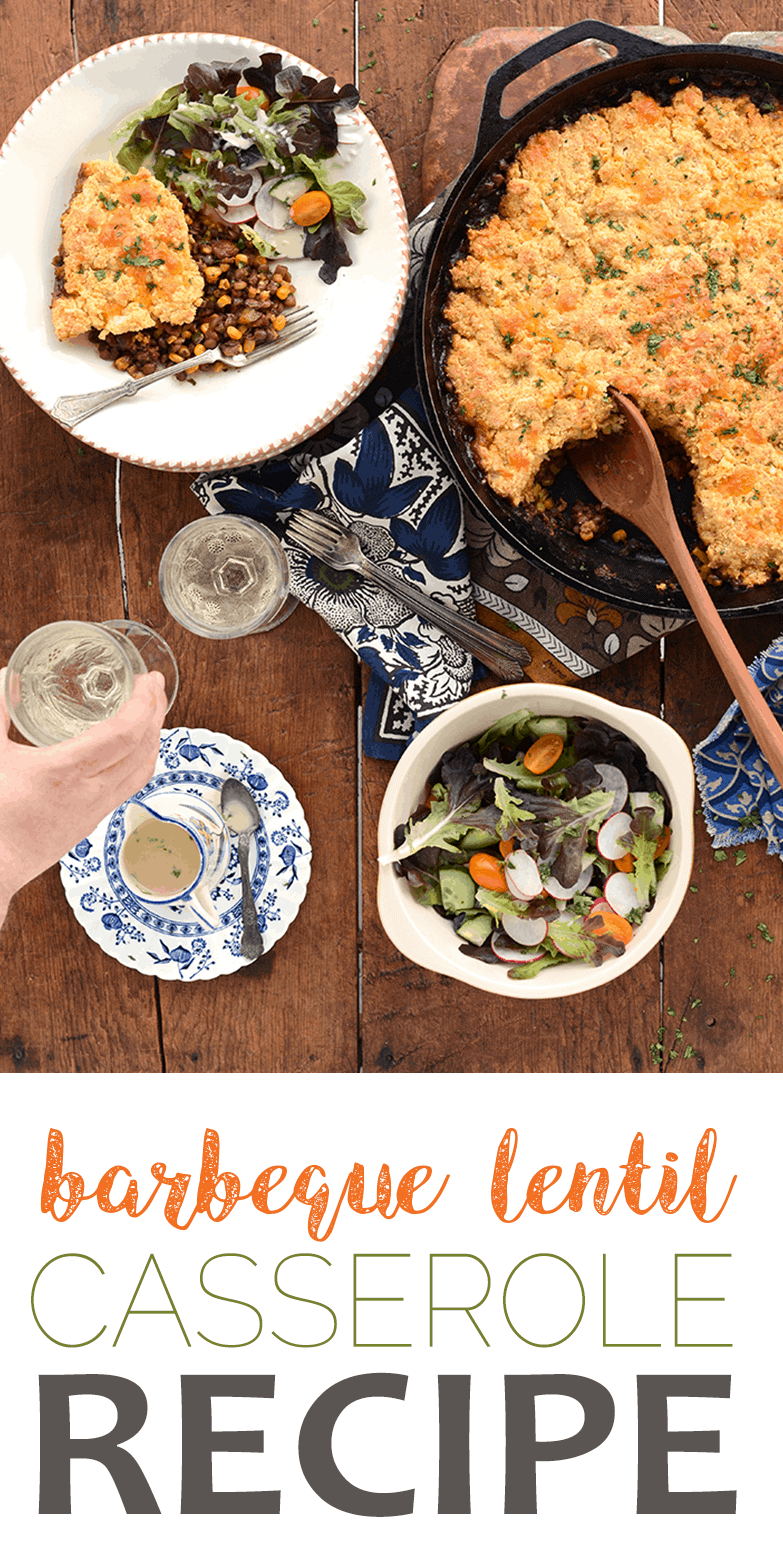 Our easy recipe for BBQ Lentil Bake is a dish for all seasons. It's a welcome comfort during the cold season since it's filling and savory but its also an ideal side dish for cookouts. #recipe #cookout #onepot