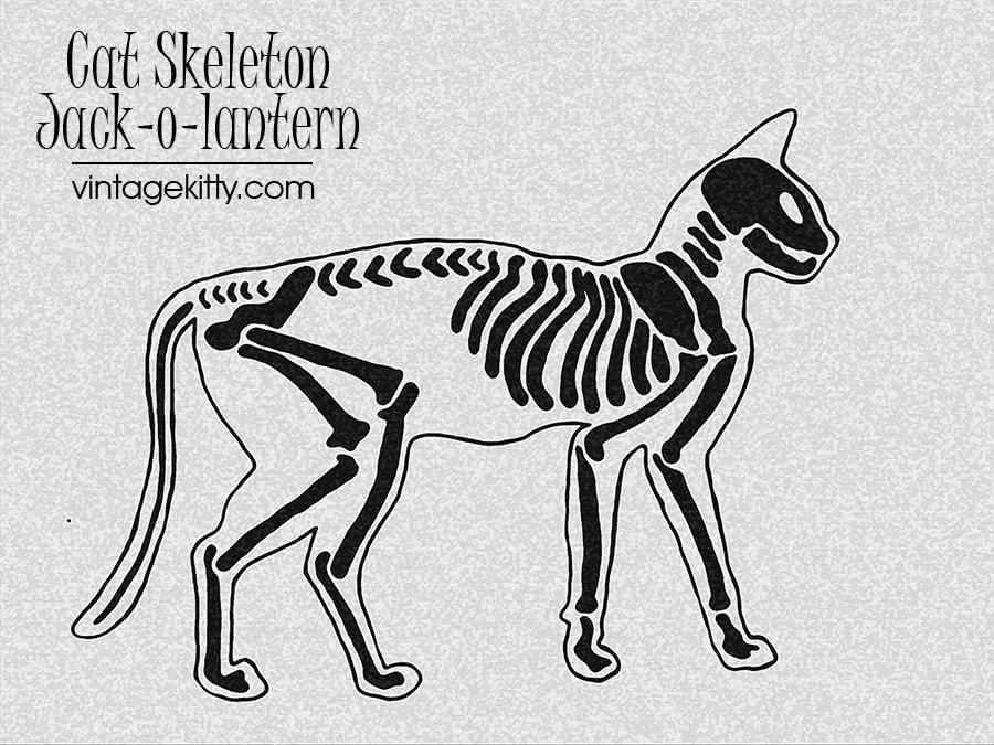 Cat Skeleton Jack o lantern Template Web - Skeleton Cat Printable </br>Pumpkin Carving Pattern
