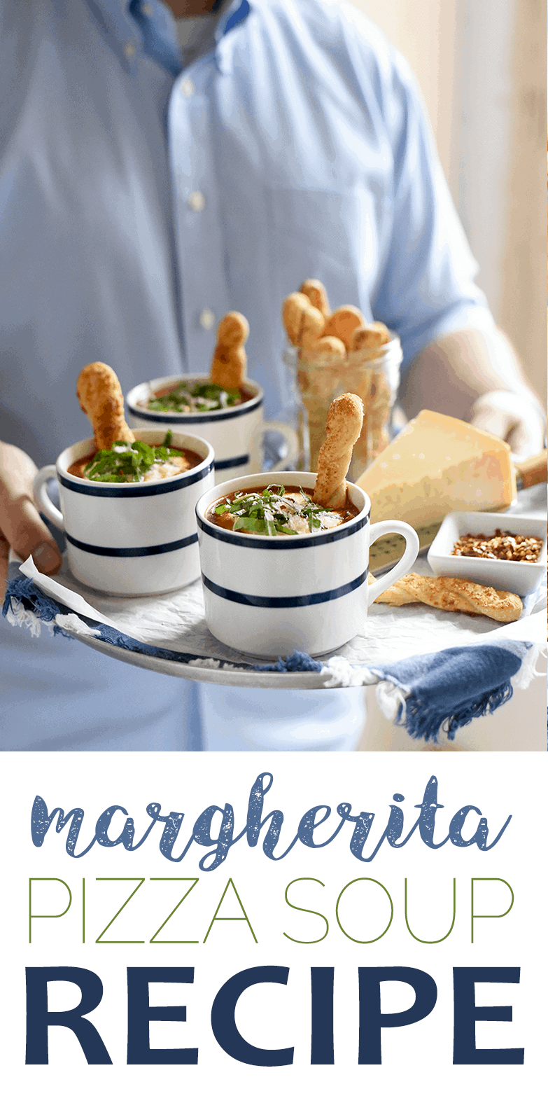 Margherita Pizza Soup Tray - Margherita Pizza Soup with Pizza Crust Breadsticks