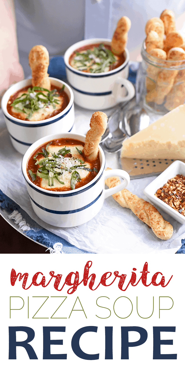 This fun soup has the flavors of margherita pizza, right down to the fresh basil and melty mozzarella cheese, but it's deconstructed for a creative twist. Perfect for a casual family dinner. #pizza #soup #homemade #tomato