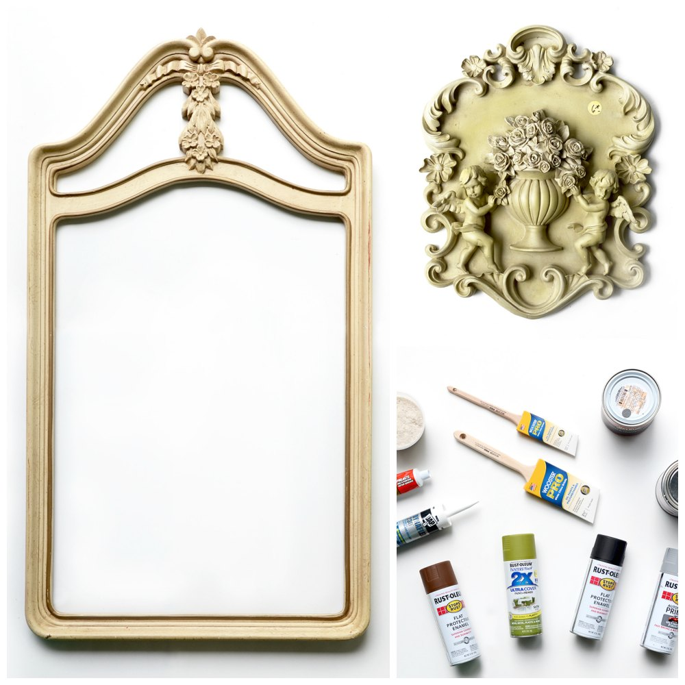 PicMonkey Collage Tombstone 1 - How to Make a Tombstone Prop </br> from a Vintage Mirror
