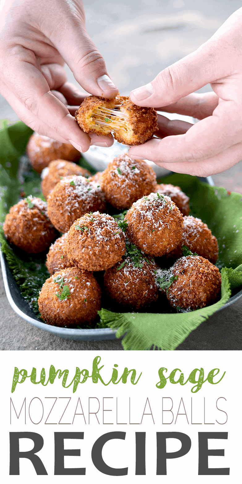 Fried Mozzarella Balls with Pumpkin, Sage + Caramelized Onion are the perfect holiday appetizer! Crunchy, gooey, deliciousness served with Yogurt Herb Dip. #mozzarellaballs #appetizers #fallfood #pumpkin #sage #thanksgiving