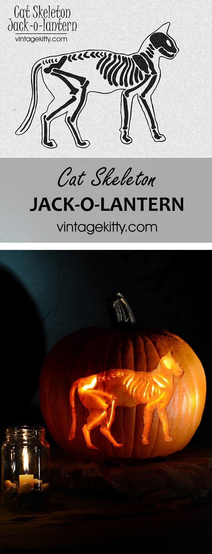 Skeleton Cat Pin - Skeleton Cat Printable </br>Pumpkin Carving Pattern