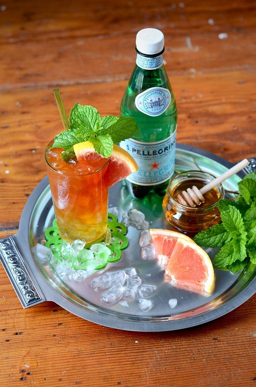 Tray with Skinny Iced Tea Cocktails Web - Skinny Iced Tea Cocktail </br>with Homemade Unsweetened Tea Vodka