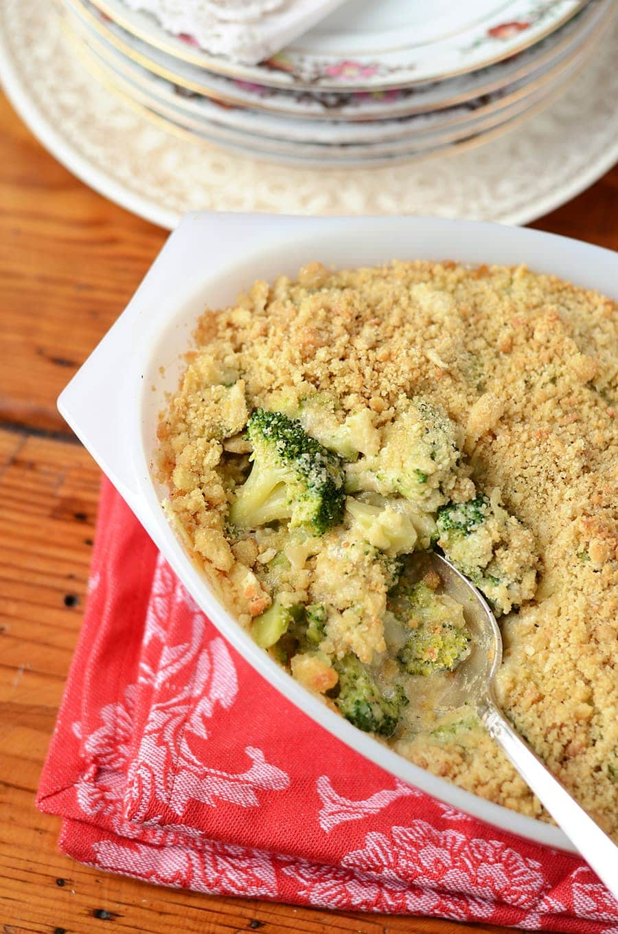 Broccoli Casserole Closeup Top Down Web - Broccoli Cheese Casserole </br>with Crunchy Quinoa Topping