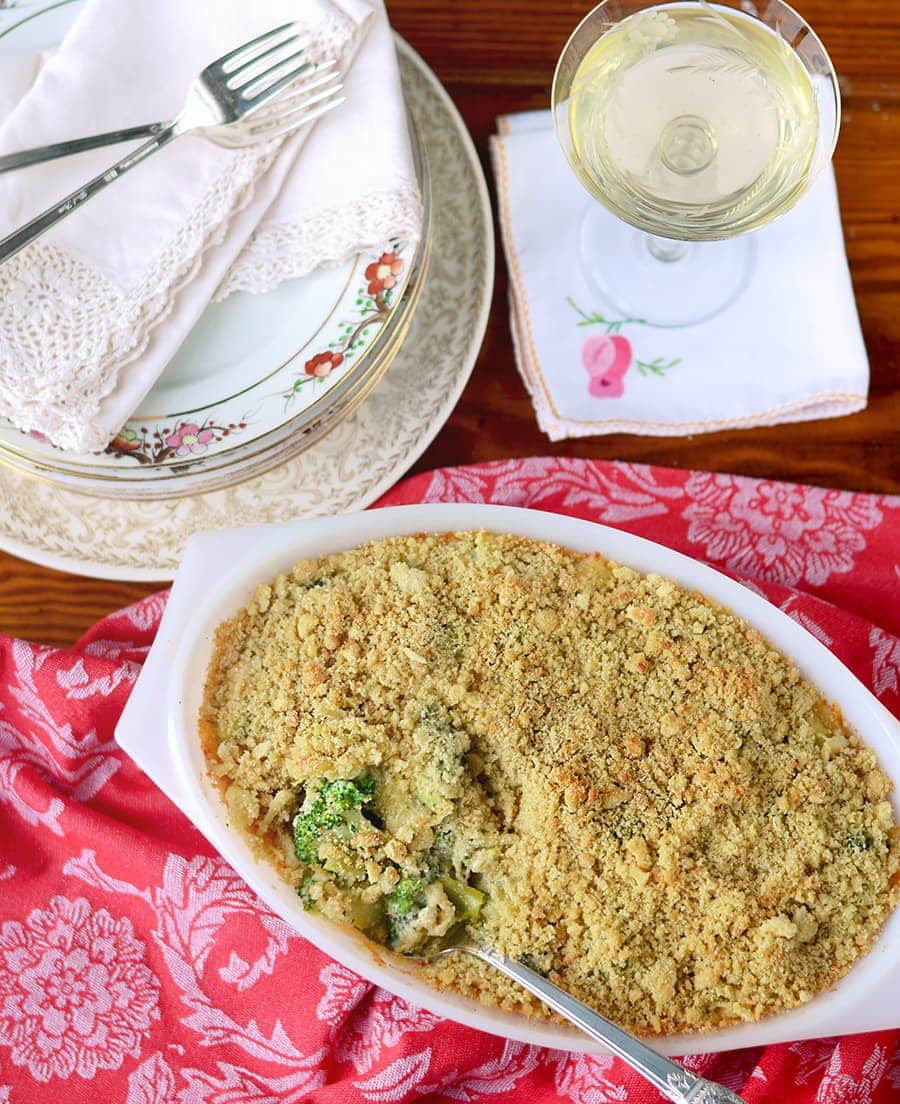 Broccoli Casserole Top Down Web - Broccoli Cheese Casserole </br>with Crunchy Quinoa Topping
