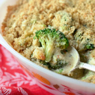 Broccoli Cheese Casserole with Crunchy Quinoa Topping