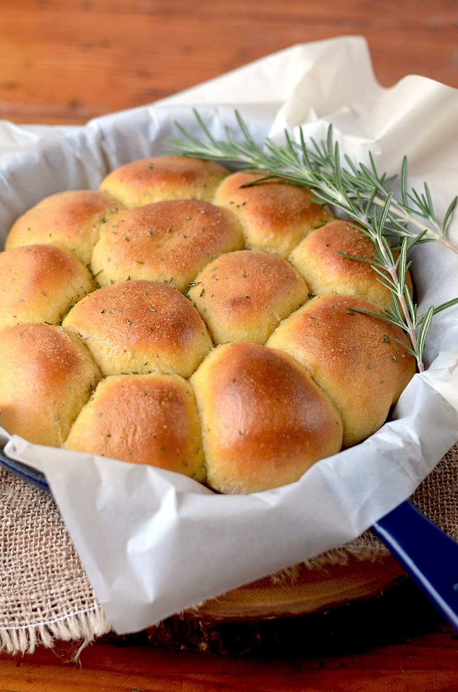 Rosemary Sweet Potato Rolls in Skillet Web - Rosemary Sweet Potato Rolls / Pizza Dough