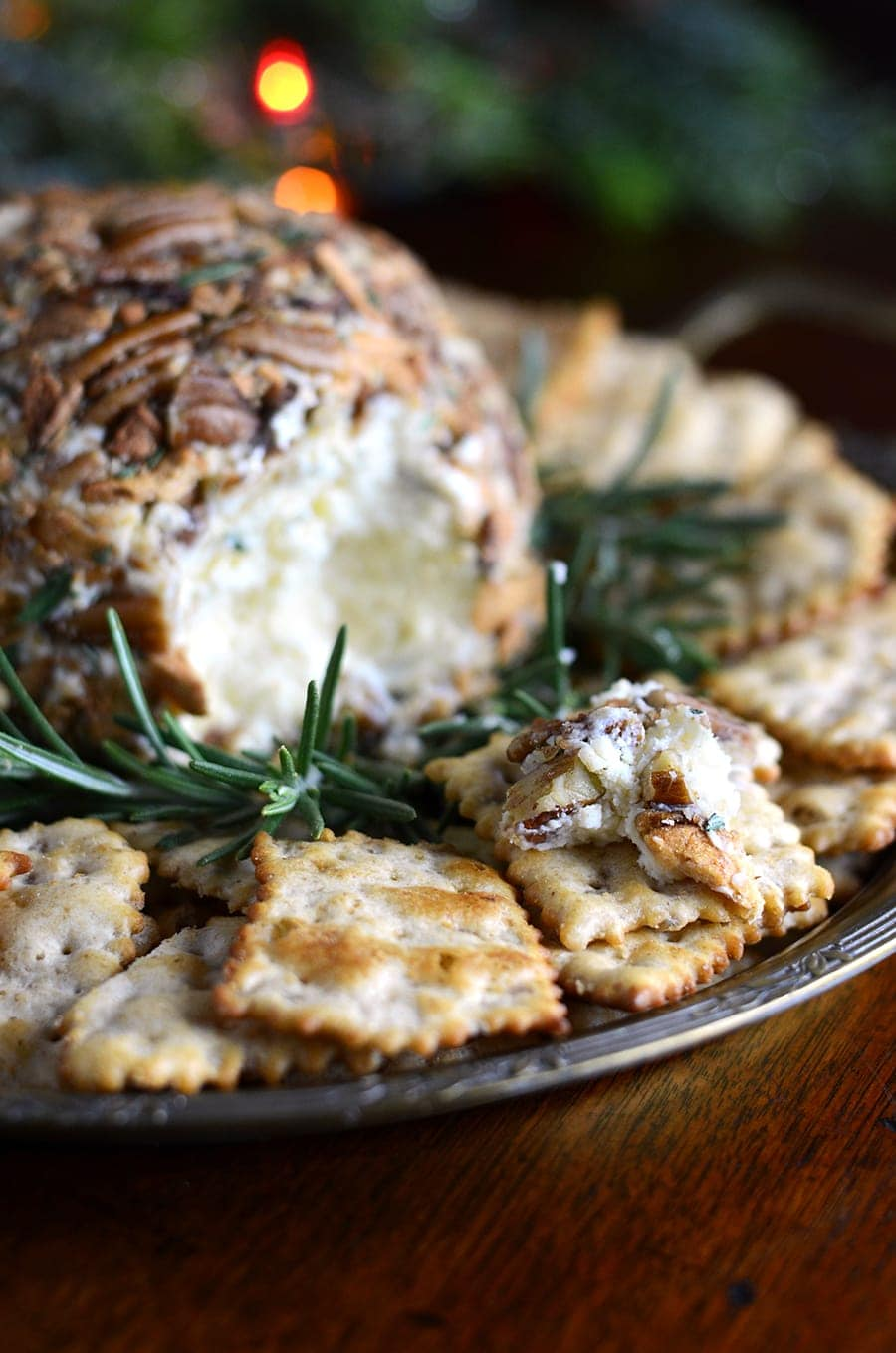 Apple Pecan Cheddar Cheese Ball Web - Easy Cheddar Cheese Ball with Butter Roasted Apple Chips, Pecans and Rosemary