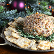 Easy Cheddar Cheese Ball with Butter Roasted Apple Chips, Pecans and Rosemary