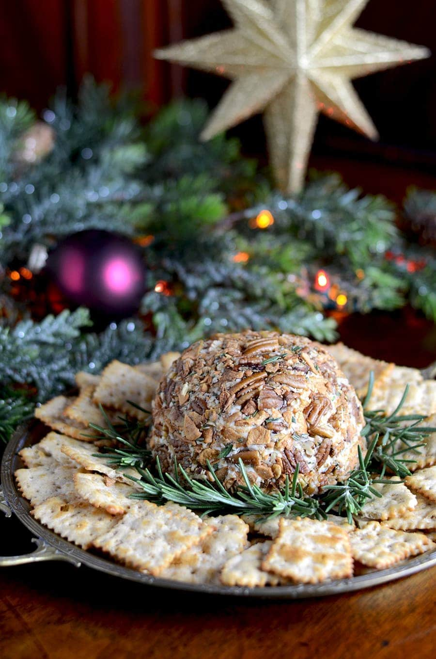 Cheese Ball Web - Easy Cheddar Cheese Ball with Butter Roasted Apple Chips, Pecans and Rosemary
