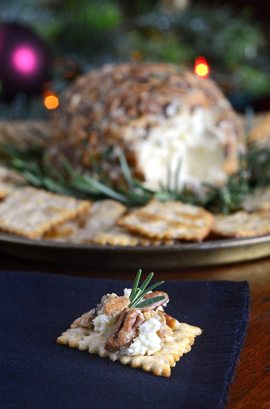 Cheese Cracker on Napkin Web - Easy Cheddar Cheese Ball with Butter Roasted Apple Chips, Pecans and Rosemary