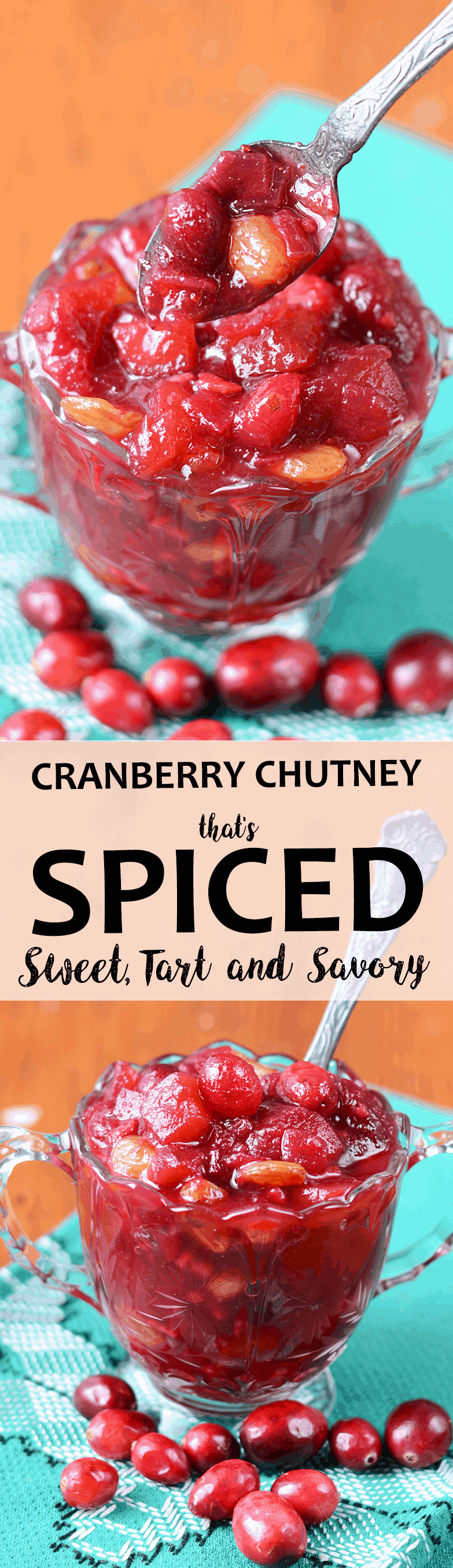 Cranberry Chutney Pin 1 - Cranberry Chutney with Apples, Raisins and Indian Spices