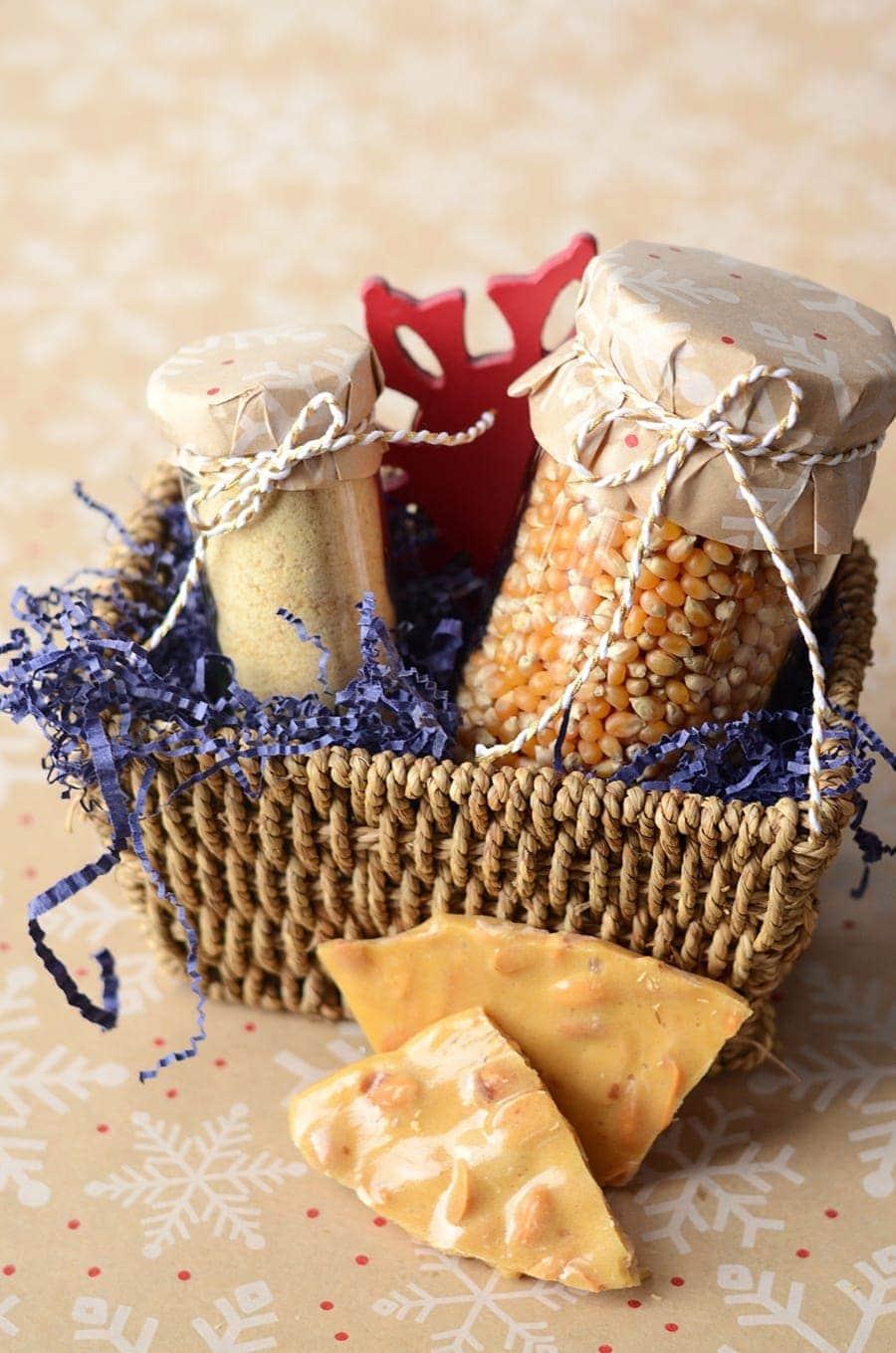 Peanut Brittle Popcorn Topping Gift Basket Web - Peanut Brittle Popcorn Topping