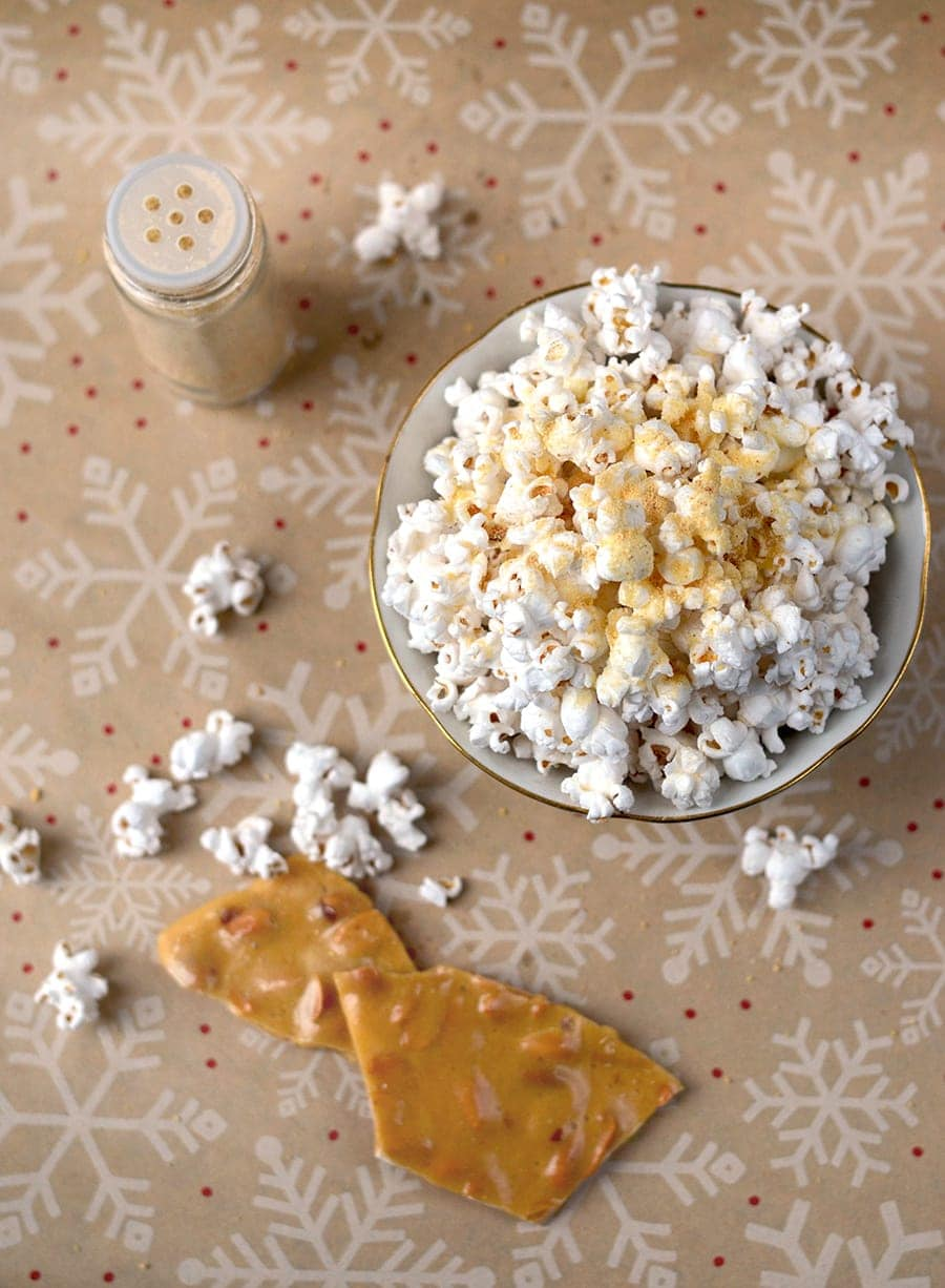 Peanut Brittle Popcorn Topping Top Down Web - Peanut Brittle Popcorn Topping