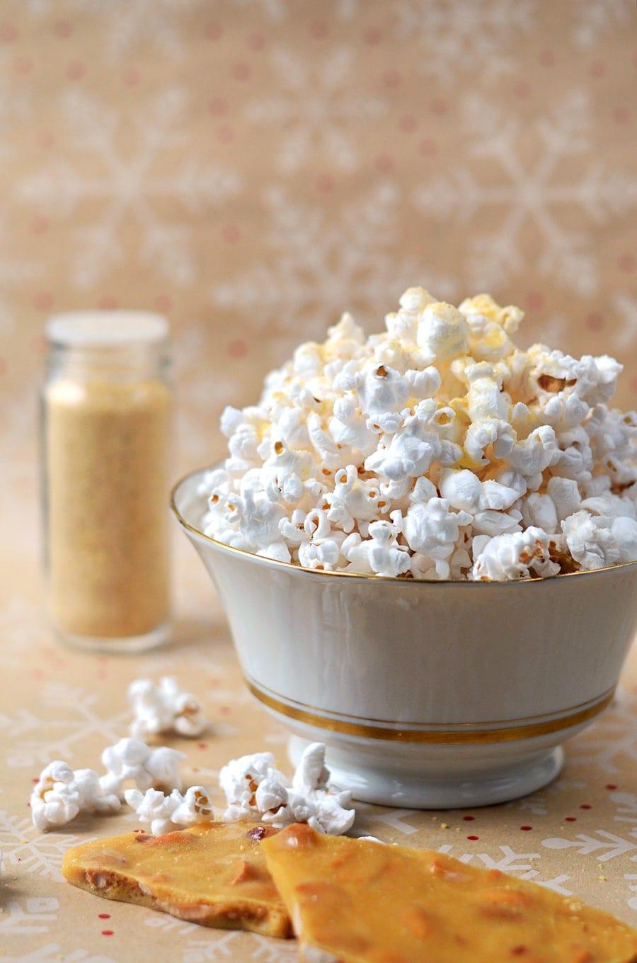 Peanut Brittle Popcorn Topping Vertical Web - Peanut Brittle Popcorn Topping