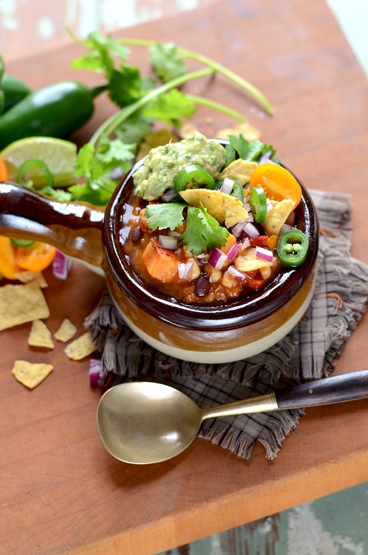 Bowl of Vegan Sweet Potato Chili Web - Vegan Sweet Potato Chili with Black Beans and Quinoa