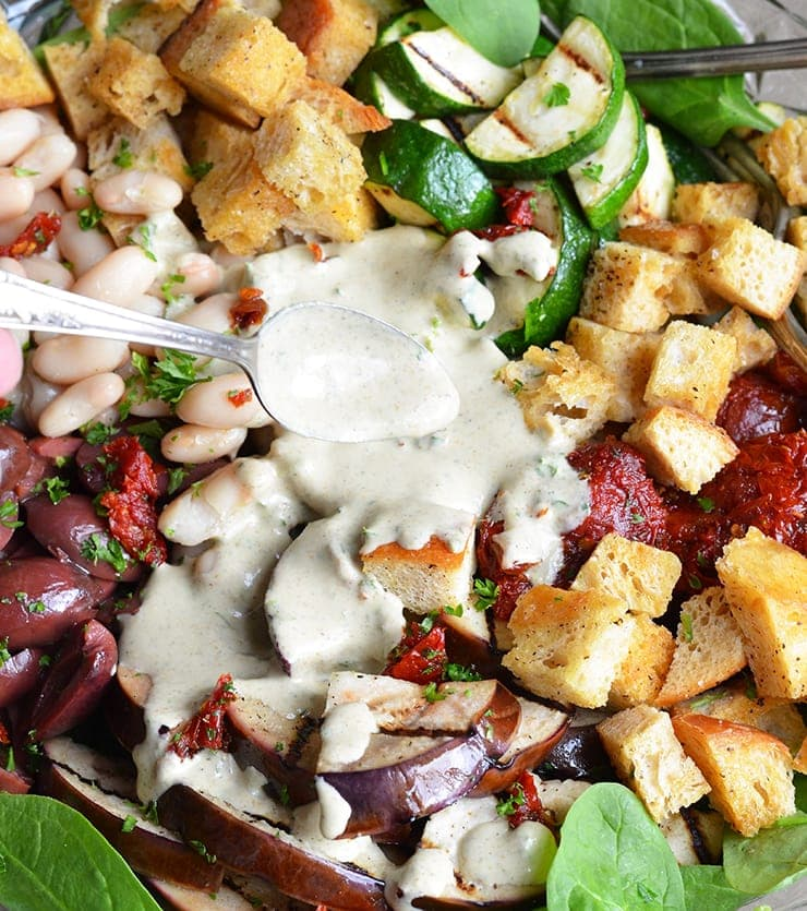 Italian Salad with Dressing Web - Italian Power Salad with White Beans,</br> Sun-dried Tomatoes and Creamy Italian Salad Dressing
