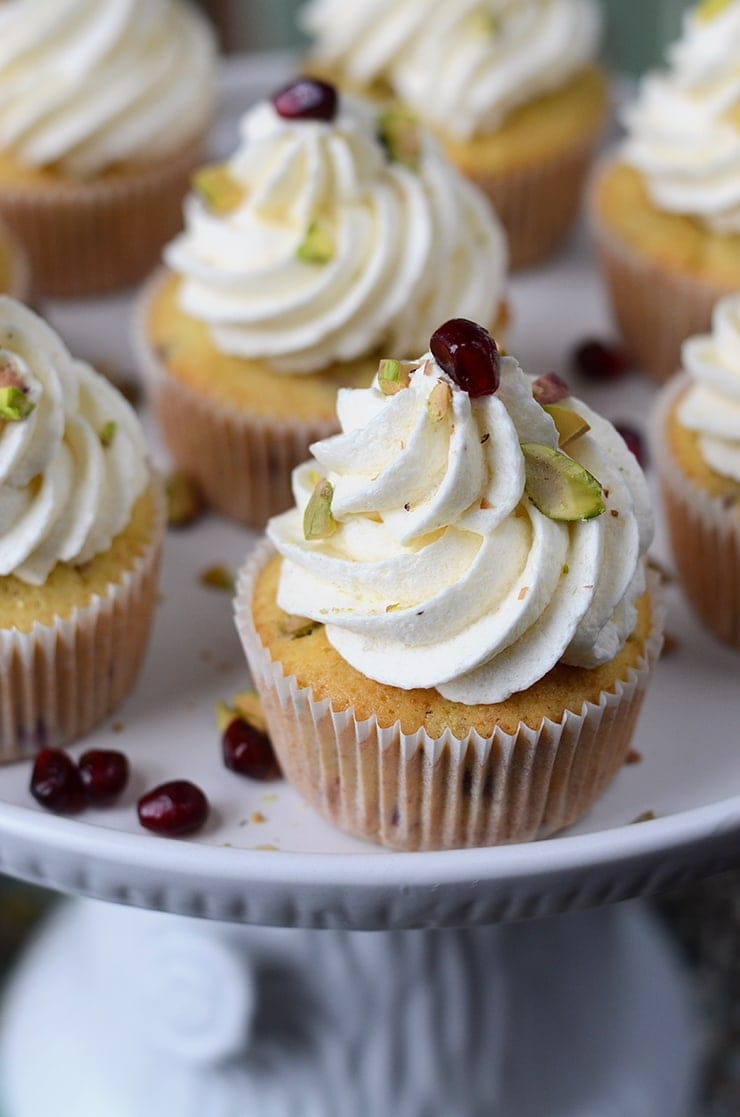 Pomegranate Pistachio Cupcakes With Greek Yogurt Buttercream Vintage Kitty