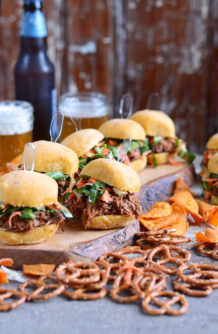 Sliders Vertical Web - Slow Cooker Pork Barbecue Sliders with Homemade Bok Choy and Carrot Slaw