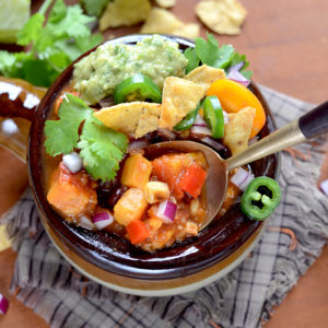 Spoonful of Vegan Sweet Potato Chili Web 300x300 - Vegan Sweet Potato Chili with Black Beans and Quinoa