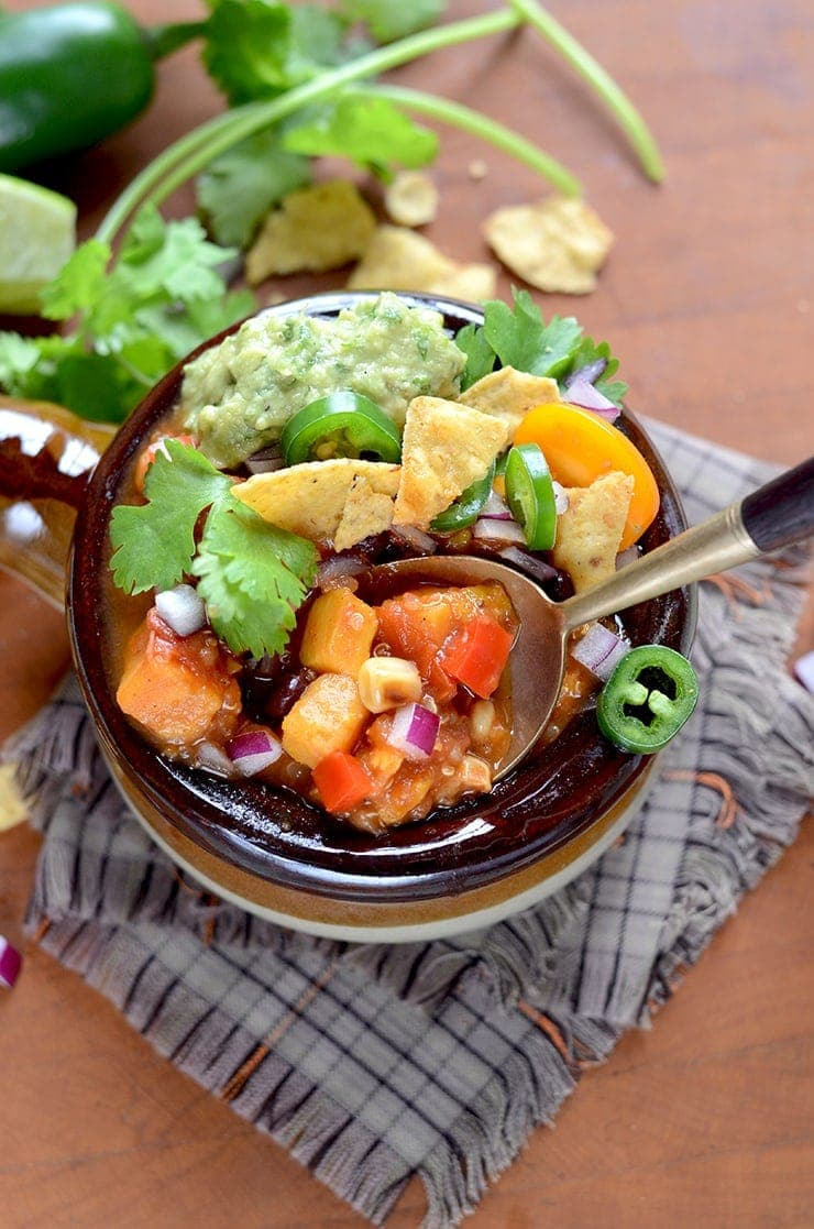 Spoonful of Vegan Sweet Potato Chili Web - Vegan Sweet Potato Chili with Black Beans and Quinoa
