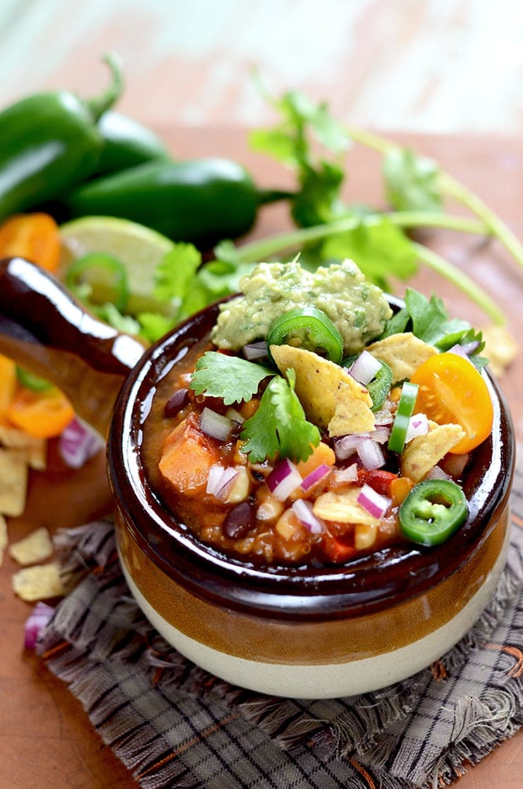 Vegan Sweet Potato Chili Web - Vegan Sweet Potato Chili with Black Beans and Quinoa