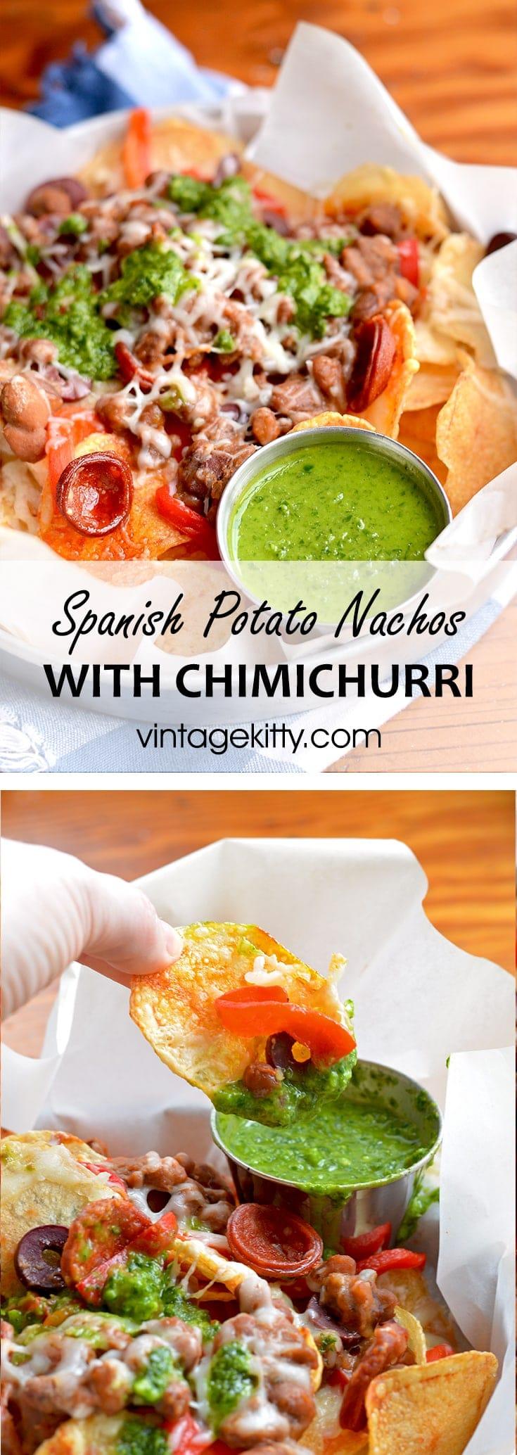 Spanish Potato Nachos Pin - Spanish Potato Nachos with Chimichurri